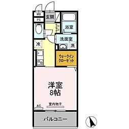 ロイジェントパークス富久山 A 3階1Kの間取り