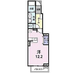 ローレル藤沢 1階1Kの間取り