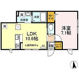 EAST-HOUSE湊高台 1階1LDKの間取り