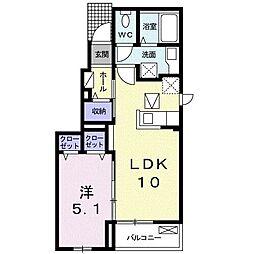 シャトー・ル・シャトーI 1階1LDKの間取り
