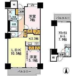 品川シーサイドビュータワー I 23階2LDKの間取り