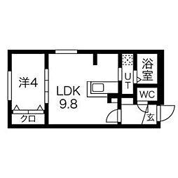 札幌市営東豊線 美園駅 徒歩6分の賃貸マンション 2階1LDKの間取り