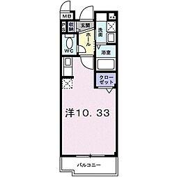 ライツェント・ガッセ・エリカ 3階1Kの間取り