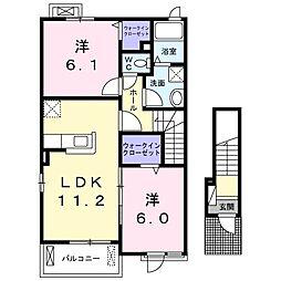 シェルビーII 2階2LDKの間取り