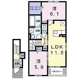 ルーチェ 2階2LDKの間取り