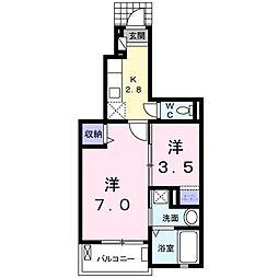 ユーアイハイツ 新家 1階1Kの間取り