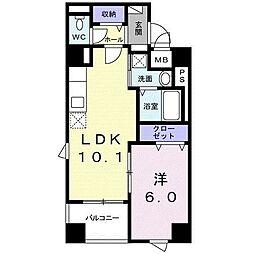 シュバリエ 3階1LDKの間取り