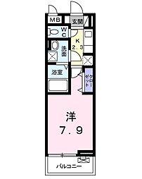 アムノスII 3階1Kの間取り