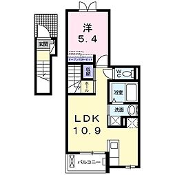 Osaka Metro千日前線 北巽駅 徒歩5分の賃貸アパート 2階1LDKの間取り