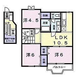ソフィーナひがし野 2階3LDKの間取り