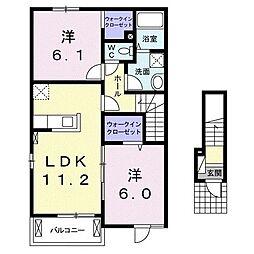 サンセリテ 2階2LDKの間取り