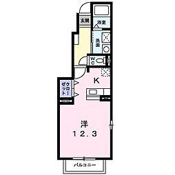 モワメーム 1階1Kの間取り