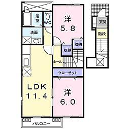 マーベラス紅 C 2階2LDKの間取り