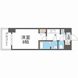 JR大阪環状線 野田駅 徒歩8分の賃貸マンション 3階1Kの間取り