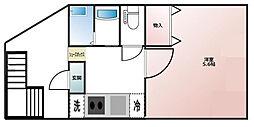 金澤ビル 3階ワンルームの間取り