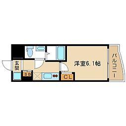 おおさか東線 高井田中央駅 徒歩5分の賃貸マンション 10階1Kの間取り