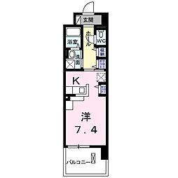 レジデンスTK 吉田 8階1Kの間取り