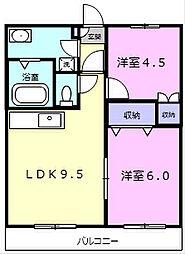 レジデンスJOY2 3階2DKの間取り