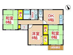 あや住宅E棟 1階3DKの間取り