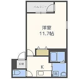 近鉄南大阪線 針中野駅 徒歩12分の賃貸アパート 3階1Kの間取り