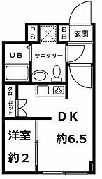 JR仙山線 国見駅 徒歩15分の賃貸マンション 4階1DKの間取り