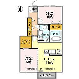 D-roomマイ・ドリーム 1階2LDKの間取り