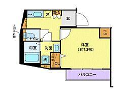 東急田園都市線 池尻大橋駅 徒歩10分の賃貸マンション 3階1Kの間取り