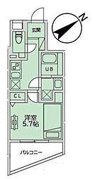 JR山手線 恵比寿駅 徒歩11分の賃貸マンション 4階1Kの間取り