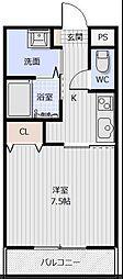 JR牟岐線 二軒屋駅 徒歩10分の賃貸マンション 3階1Kの間取り