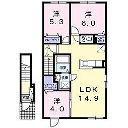 グランシャリオ 2階3LDKの間取り