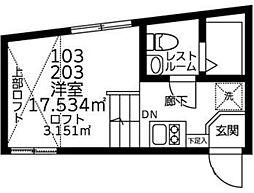 JR山手線 渋谷駅 徒歩15分の賃貸マンション 2階ワンルームの間取り