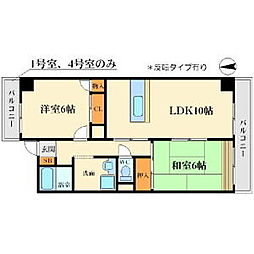 サン春日第3マンション 1階2LDKの間取り