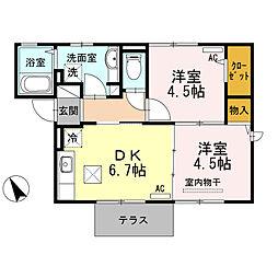 トロワーズ湘南III 1階2DKの間取り