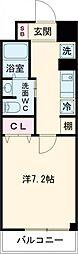 クラシエ四日市パークサイド 5階1Kの間取り