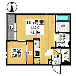 Grandtic Nagoya Castle 1階1LDKの間取り