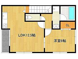 梅満町1号棟アパート 2階1LDKの間取り