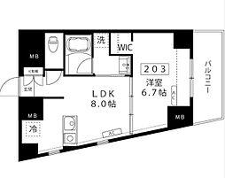 小田急小田原線 代々木上原駅 徒歩3分の賃貸マンション 2階1LDKの間取り