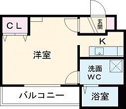 東武伊勢崎線 谷塚駅 徒歩8分の賃貸マンション 1階ワンルームの間取り