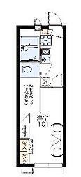JR片町線(学研都市線) 藤阪駅 徒歩22分の賃貸アパート 1階1Kの間取り
