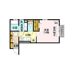 JR上越新幹線 長岡駅 徒歩35分の賃貸アパート 1階1Kの間取り