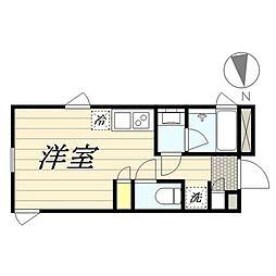 PASEO新宿3丁目I 4階ワンルームの間取り