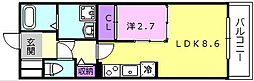近鉄大阪線 弥刀駅 徒歩6分の賃貸アパート 3階1LDKの間取り