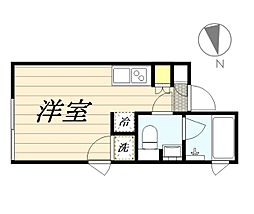 PASEO新宿3丁目I 2階ワンルームの間取り
