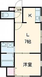 札幌市営東西線 白石駅 徒歩18分の賃貸アパート 2階1LDKの間取り