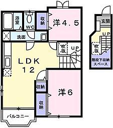 サンマリー 2階2LDKの間取り