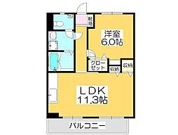 エトワール京町 1階1LDKの間取り