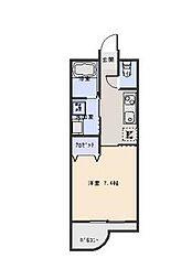 JR日豊本線 別府駅 徒歩17分の賃貸マンション 2階1Kの間取り