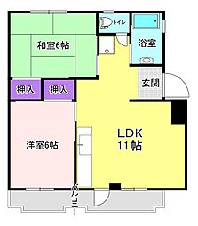 山惣パークレジデンス 3階2LDKの間取り