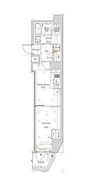 都営大江戸線 西新宿五丁目駅 徒歩22分の賃貸マンション 6階1DKの間取り