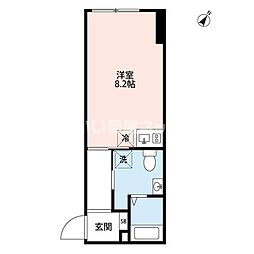 JR山手線 恵比寿駅 徒歩13分の賃貸マンション 4階ワンルームの間取り